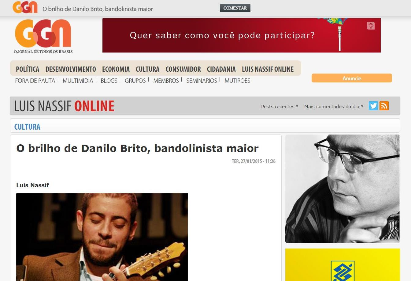 The brilliance of Danilo Brito, major mandolinist - GGN